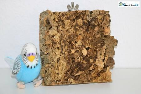 Korksitzbretter nutzen Wellensittiche, Kanarienvögel, Sperlinge oder Nymphensittiche und nahezu alle Vogel Haustierarten liebend gerne als Sitz-, Ruhe- und Spielplatz sowie als begehrtes Knabbermaterial. Als Liege- und Ruheplattform mögen unsere Ziervögel die Oberfläche der Korksitzbretter, da die Naturkorkoberfläche gut isoliert ist und somit angenehm warmhält. Nicht nur Wellensittiche liegen gerne auch mal bäuchlings auf dem Korksitzbrett, zusätzlich nutzen unsere Hausvögel mit Fuß- bzw. Beinproblemen das Korksitzbrett, um stark beanspruchte Körperzonen zu entlasten. Dieses naturbelassene Korksitzbrett erhalten Sie mit vormontierter Stockschraube und Befestigungsmaterial montagefertig für Ihren Vogelkäfig oder Ihre Voliere. Unsere Korksitzbretter können Sie bequem über unseren Vogelshop bestellen. Sittiche24 versendet das für Ihre Lieblinge ausgesuchte Korksitzbrett innerhalb von wenigen Werktagen per Post zu Ihnen nach Hause zum Beispiel nach Frankfurt, Stuttgart, Düsseldorf oder Dortmund.