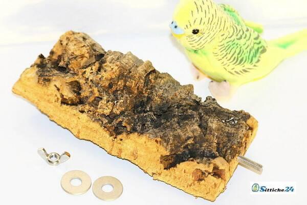 Kork Pickstein als gesundes Spielzeug für Wellen- und Nymphensittiche für Vogelfreunde etwa in Berlin oder München.