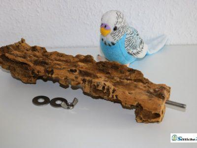 Kork ist Trumpf - Korksitzbrett Vogelsitzbrett mit Edelstahlbefestigung für Vogelkäfige und Volieren