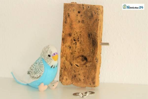 Vogelsitzbrett Korksitzbrett als Vogelspielzeug für Ihren Vogelkäfig mit Befestigungsmaterial versenden nach München, Kassel oder Gelsenkirchen.