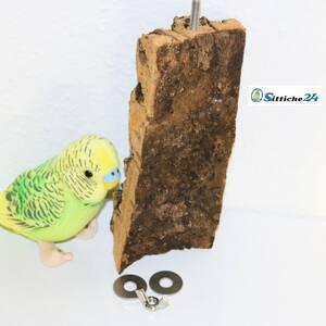 Vogelsitzbrett aus Naturkork als Wellensittich Spielzeug für Vogelkäfige - Sittiche24 etwa für Vogelfreunde in Fürth, Kempten, Ulm oder Erlangen.