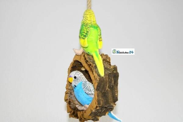 Rindenkork Vogelschaukel als cleveres Vogelspielzeug.