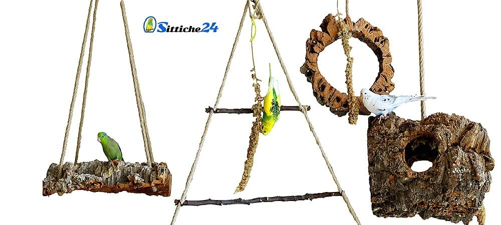 """Vogelschaukeln aus Kork mit Hanfseil Aufhängung als gesundes Vogelzubehör für Vogelkäfige, Volieren und Freizimmer. Wellensittiche, Nymphensittiche, Papageien oder Kanarienvögel – sie alle lieben das Schaukeln und die natürliche Hin- und Her Bewegung. Vogelschaukeln aus Kork garantieren Ihren Vögeln Schaukel-, Knabber- und Kletterspaß in einem. Ihre Vögel werden nicht nur gerne Schaukeln und das Korkmaterial """"bearbeiten"""", Ihre gefiederten Freunde werden auch zum Auf- und Ab klettern entlang der Hanfseile animiert und stärken dadurch Ihre Muskulatur. Das Beobachten Ihrer Schützlinge macht dann noch mehr Spaß und sie werden von den Kletterkünsten Ihrer Vögel aufs Neue begeistert sein. Sittiche24 bietet Vogelschaukeln aus Naturkork in unterschiedlichen Variationen, Größen und Stärken an, für große und kleine Vögel. Unsere Vogelschaukeln sind durch die einzigartige Beschaffenheit von Naturkork äußerst langlebig und können Vogelgenerationen überdauern. Wir freuen uns sehr, wenn wir Ihre Bestellung entgegennehmen dürfen!"""